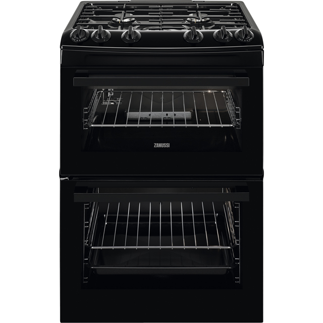 Zanussi ZCG63080BV 60cm Gas Cooker with Full Width Electric Grill - Black - A/A Rated - ZCG63080BV_BK - 1