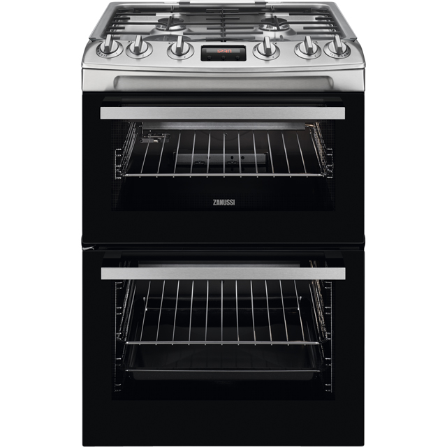 Zanussi ZCG63250XA 60cm Gas Cooker with Full Width Electric Grill - Stainless Steel - A/A Rated - ZCG63250XA_SS - 1
