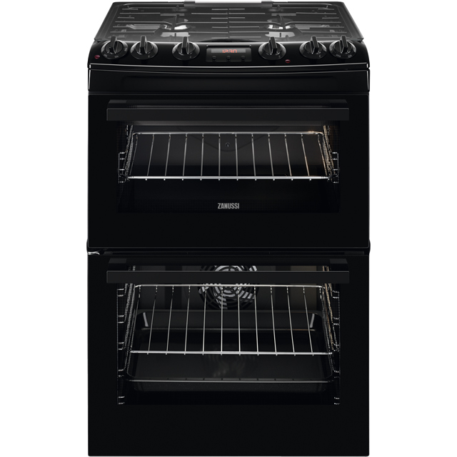 Zanussi ZCK66350BA 60cm Dual Fuel Cooker - Black - A/A Rated - ZCK66350BA_BK - 1