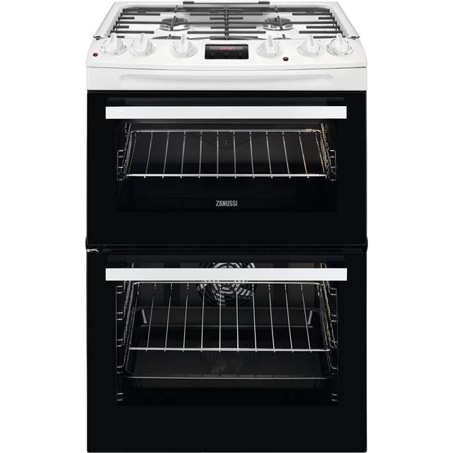 Zanussi ZCK66350WA 60cm Dual Fuel Cooker - White - A/A Rated - ZCK66350WA_WH - 1