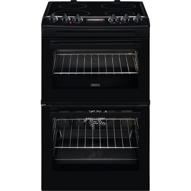 Zanussi ZCV46250BA 55cm Electric Cooker with Ceramic Hob - Black - A/A Rated - ZCV46250BA_BK - 1