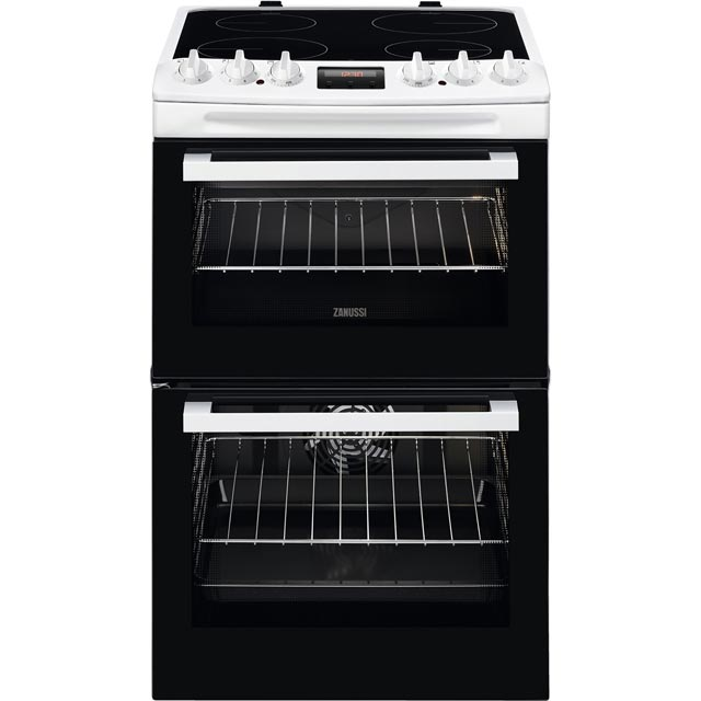Zanussi ZCV46250WA 55cm Electric Cooker with Ceramic Hob - White - A/A Rated - ZCV46250WA_WH - 1