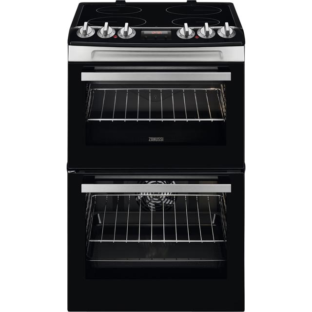 Zanussi 55cm Electric Cooker with Ceramic Hob - Stainless Steel - A/A Rated