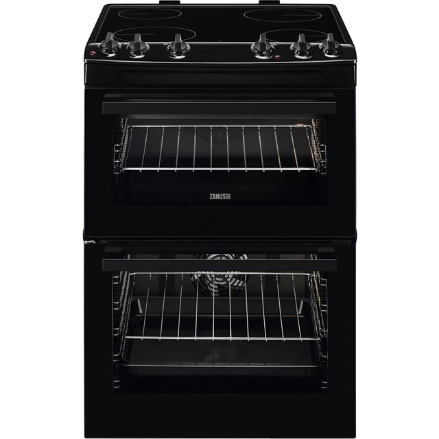 Zanussi ZCV66080BV 60cm Electric Cooker with Ceramic Hob - Black - A/A Rated - ZCV66080BV_BK - 1