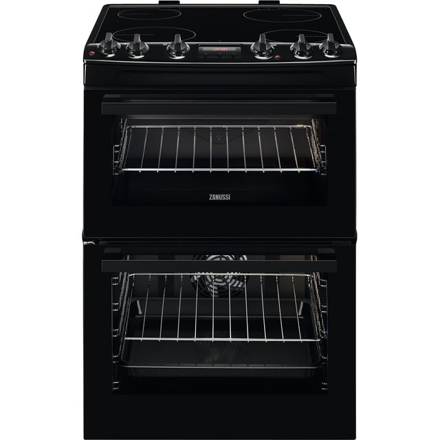 Zanussi ZCV66250BA 60cm Electric Cooker with Ceramic Hob - Black - A/A Rated - ZCV66250BA_BK - 1