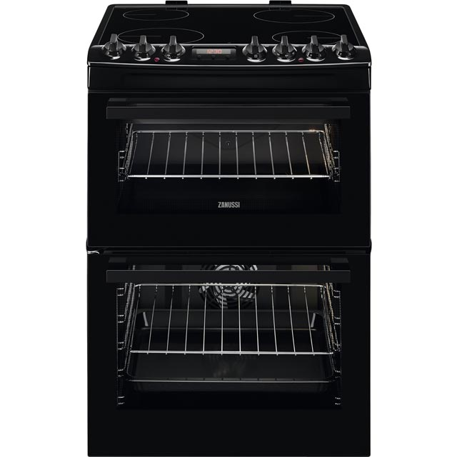 Zanussi ZCV69350BA 60cm Electric Cooker with Ceramic Hob - Black - A/A Rated - ZCV69350BA_BK - 1