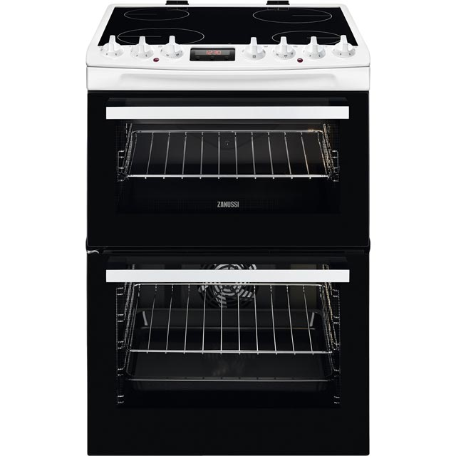 Zanussi ZCV69350WA 60cm Electric Cooker with Ceramic Hob - White - A/A Rated - ZCV69350WA_WH - 1