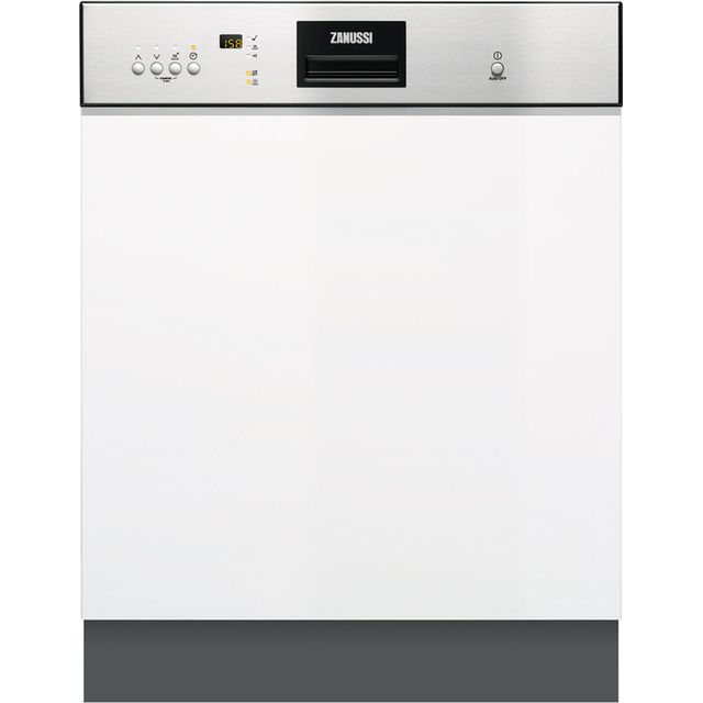 Zanussi ZDI26022XA Semi Integrated Standard Dishwasher - Stainless Steel Control Panel with Fixed Door Fixing Kit - A++ Rated - ZDI26022XA_SS - 1