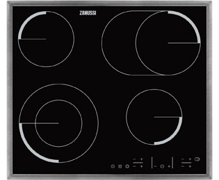 Zanussi ZEV6646XBA Built In Ceramic Hob - Black / Stainless Steel - ZEV6646XBA_BK - 1