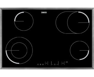 Product image for Zanussi ZEV8646XBA 77cm Ceramic Hob - Black / Stainless Steel