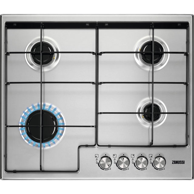 Zanussi ZGH65411XB 60cm Gas Hob - Stainless Steel - ZGH65411XB_SS - 1