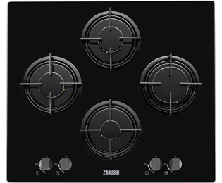 Zanussi 59cm Gas Hob - Black Glass