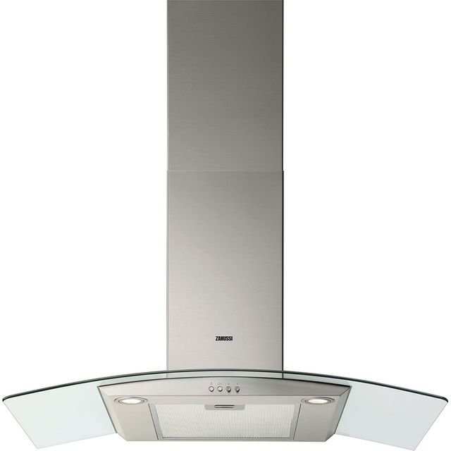 Zanussi ZHC9235X 90 cm Chimney Cooker Hood - Stainless Steel / Glass - C Rated - ZHC9235X_SSG - 1