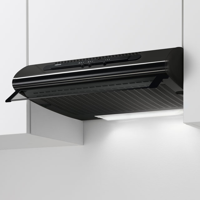 Zanussi 60 cm Visor Cooker Hood - Black - D Rated