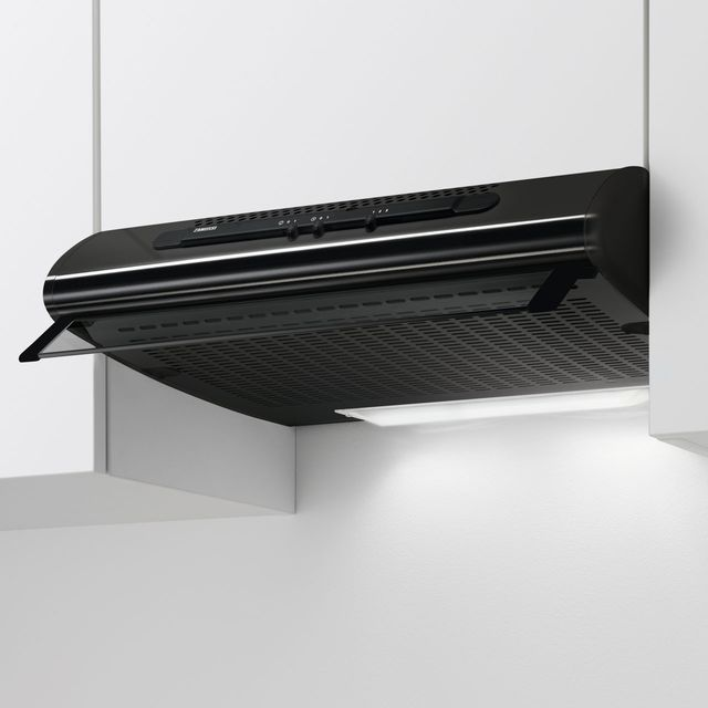 Zanussi ZHT611N 60 cm Visor Cooker Hood - Black - D Rated