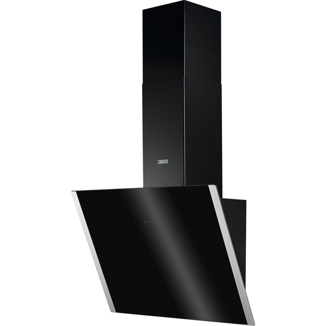 Zanussi ZHV64750BA 60 cm Chimney Cooker Hood - Black Glass - A+ Rated - ZHV64750BA_BKG - 1