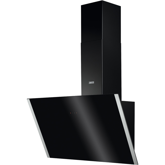 Zanussi ZHV94750BA 90 cm Chimney Cooker Hood - Black Glass - A+ Rated - ZHV94750BA_BKG - 1
