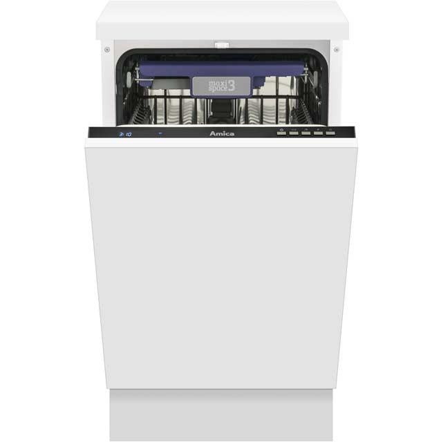 Amica Fully Integrated Slimline Dishwasher - Black Control Panel with Fixed Door Fixing Kit - A+ Rated