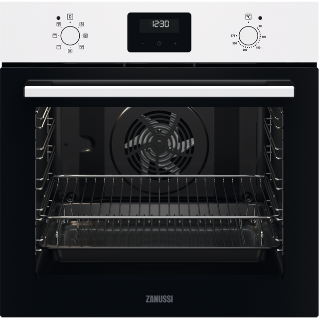 Zanussi ZOHNX3W1 Built In Electric Single Oven - White - ZOHNX3W1_WH - 1