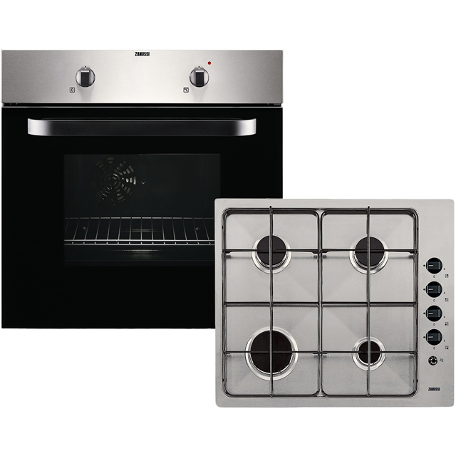 Zanussi ZPGF4030X Built In Electric Single Oven and Gas Hob Pack - Stainless Steel - A Rated - ZPGF4030X_SS - 1