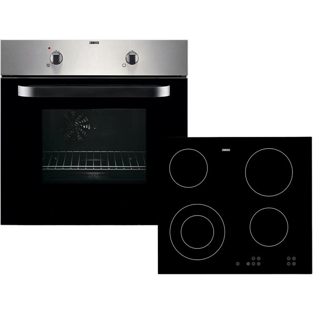 Zanussi ZPVF4130X Built In Electric Single Oven and Ceramic Hob Pack - A Rated