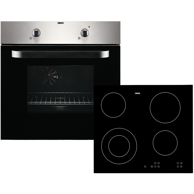 Zanussi ZPVF4130X Built In Electric Single Oven and Ceramic Hob Pack - Stainless Steel / Black - A Rated - ZPVF4130X_SS - 1