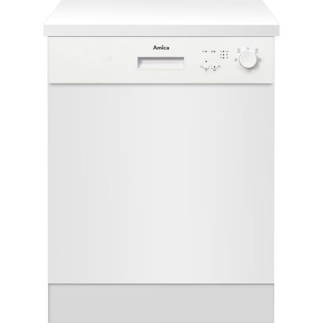 Amica ZZV634W Semi Integrated Standard Dishwasher - White Control Panel with Fixed Door Fixing Kit - A++ Rated - ZZV634W_WH - 1