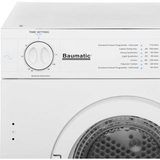 Baumatic BTD1 Built In 6Kg Vented Tumble Dryer - White - C Rated - BTD1 - 3