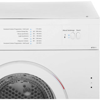 Baumatic BTD1 Built In 6Kg Vented Tumble Dryer - White - C Rated - BTD1 - 4