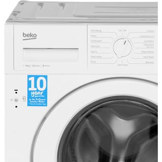 Beko WIR86540F1 Integrated 8Kg Washing Machine with 1600 rpm - A+++ Rated - WIR86540F1_WH - 4