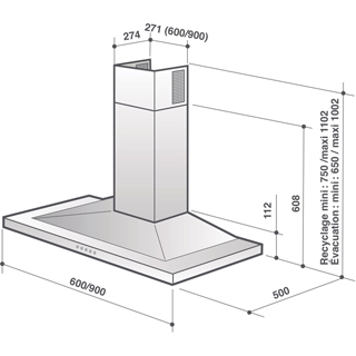 De Dietrich DHP7612X Built In Chimney Cooker Hood - Stainless Steel - DHP7612X_SS - 2