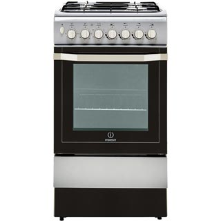 Indesit I5GSH1S Dual Fuel Cooker - Silver - I5GSH1S_SI - 1