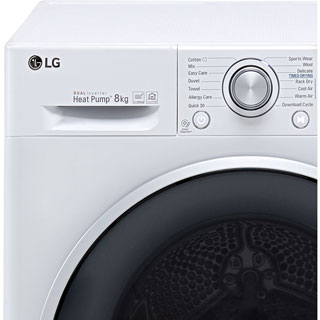 LG J6 FDJ608W Wifi Connected 8Kg Heat Pump Tumble Dryer - White - A+++ Rated - FDJ608W_WH - 2