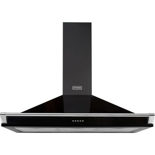 Stoves S1000 RICH CHIM RAIL Built In Chimney Cooker Hood - Black - S1000 RICH CHIM RAIL_BK - 1
