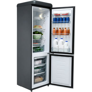 Swan Retro Slimline SR11025BN Fridge Freezer - Black - SR11025BN_BK - 3