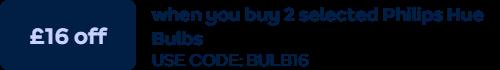 £16 off 2 Philips Hue bulbs