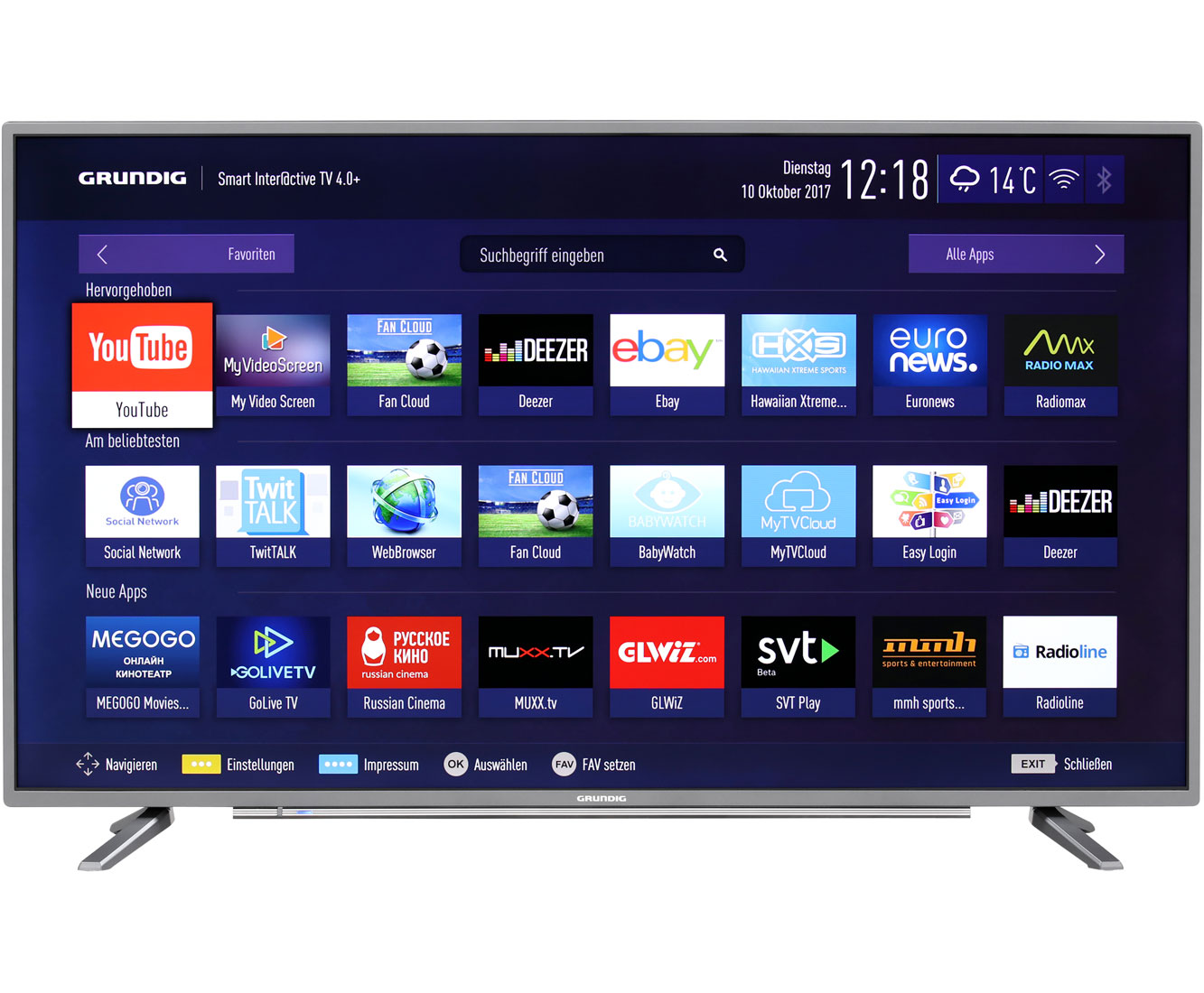 grundig 43 gut 8768 4k uhd led fernseher 108 cm 43 zoll anthrazit ebay. Black Bedroom Furniture Sets. Home Design Ideas
