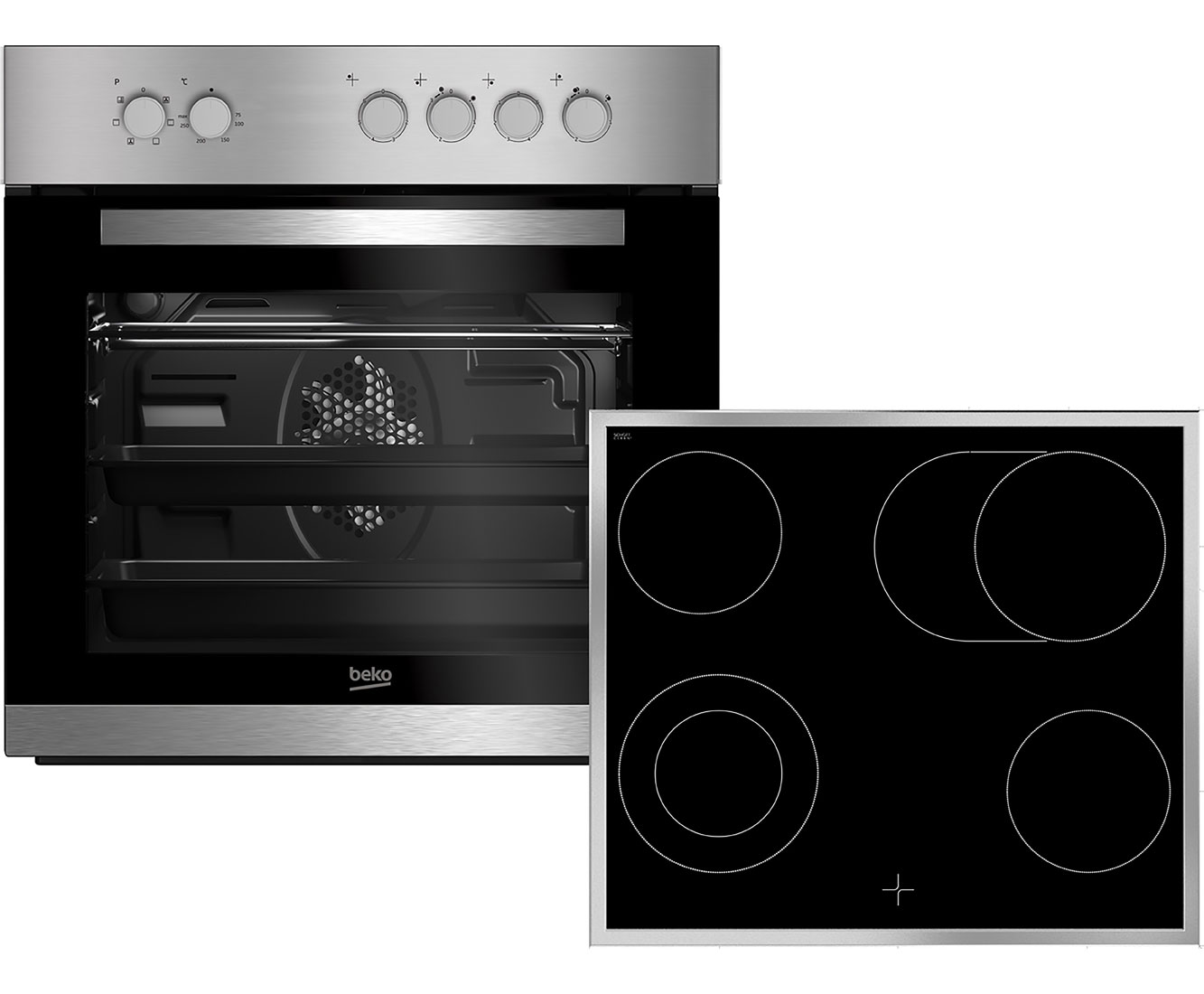beko buc22020x backofen kochfeld kombination a 75l innenraum edelstahl. Black Bedroom Furniture Sets. Home Design Ideas