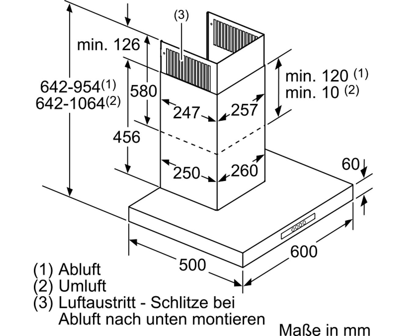 neff [dbb 7642 n] d76b42n0 wandhaube - ab- und umluft-betrieb, 60er