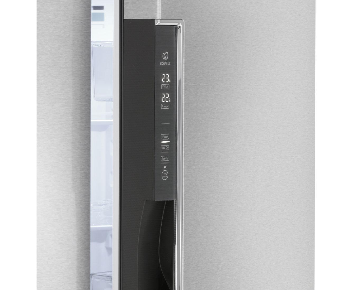 Amerikanischer Kühlschrank Mit Fernseher : Haier hrf 450ds6 amerikanischer side by side 447l edelstahl optik a