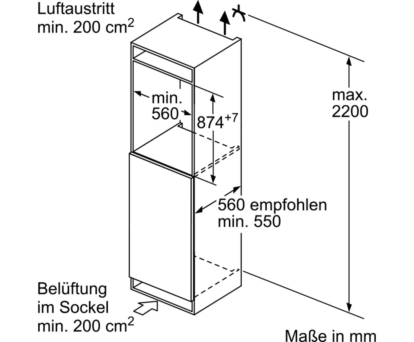 Bosch Serie 6 KIR21AF40 Einbau-Kühlschrank - 88er Nische, Festtür ...