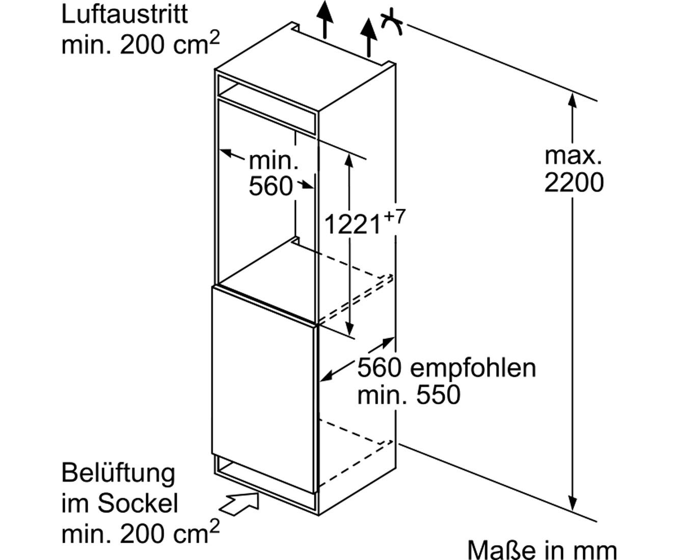 Bosch Serie 6 KIR41AF30 Einbau-Kühlschrank - 122er Nische, Festtür ...