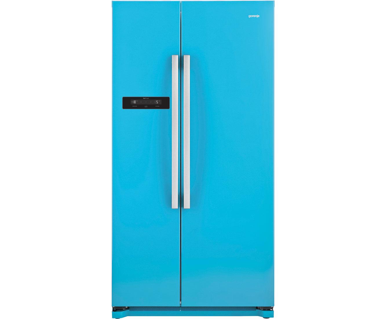 Amerikanischer Kühlschrank Blau : Gorenje nrs bbl amerikanischer side by side l blau a