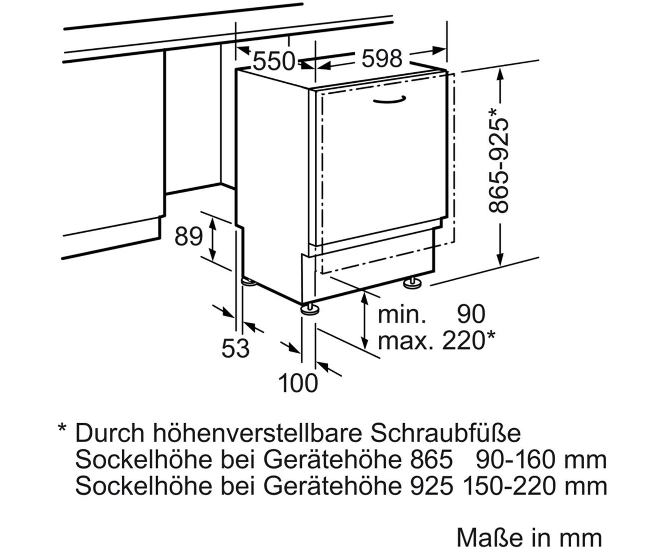 Hervorragend Bosch Serie 4 SBV46MX01E vollintegrierter XL-Geschirrspüler - 60 DH33