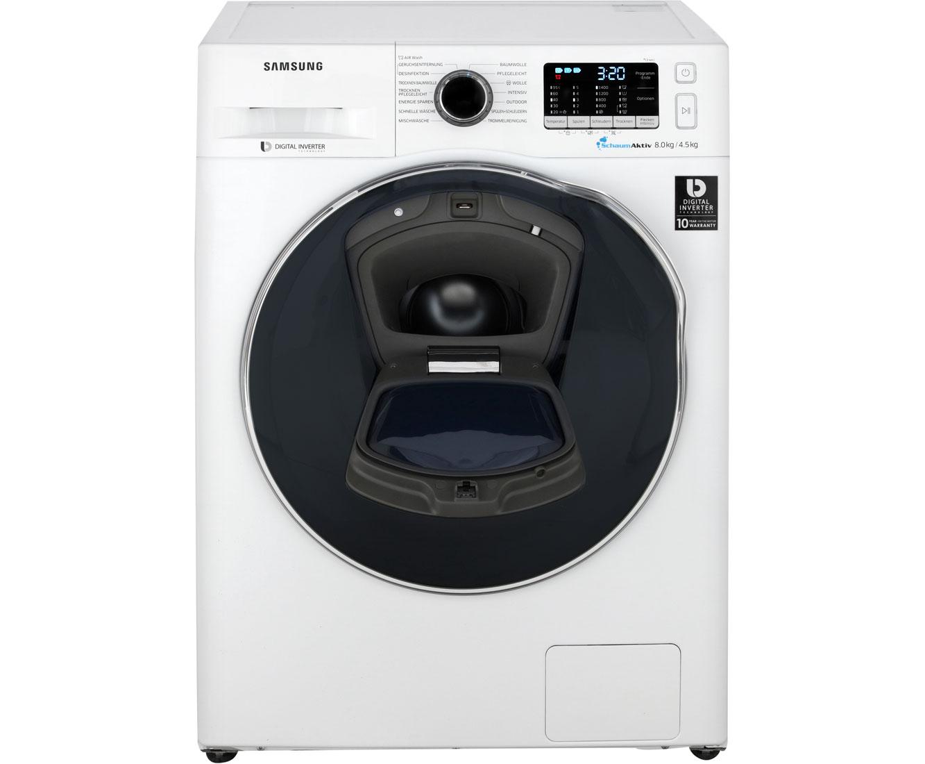 Samsung wd81k5a00ow eg waschtrockner 8 kg waschen 4.5 kg