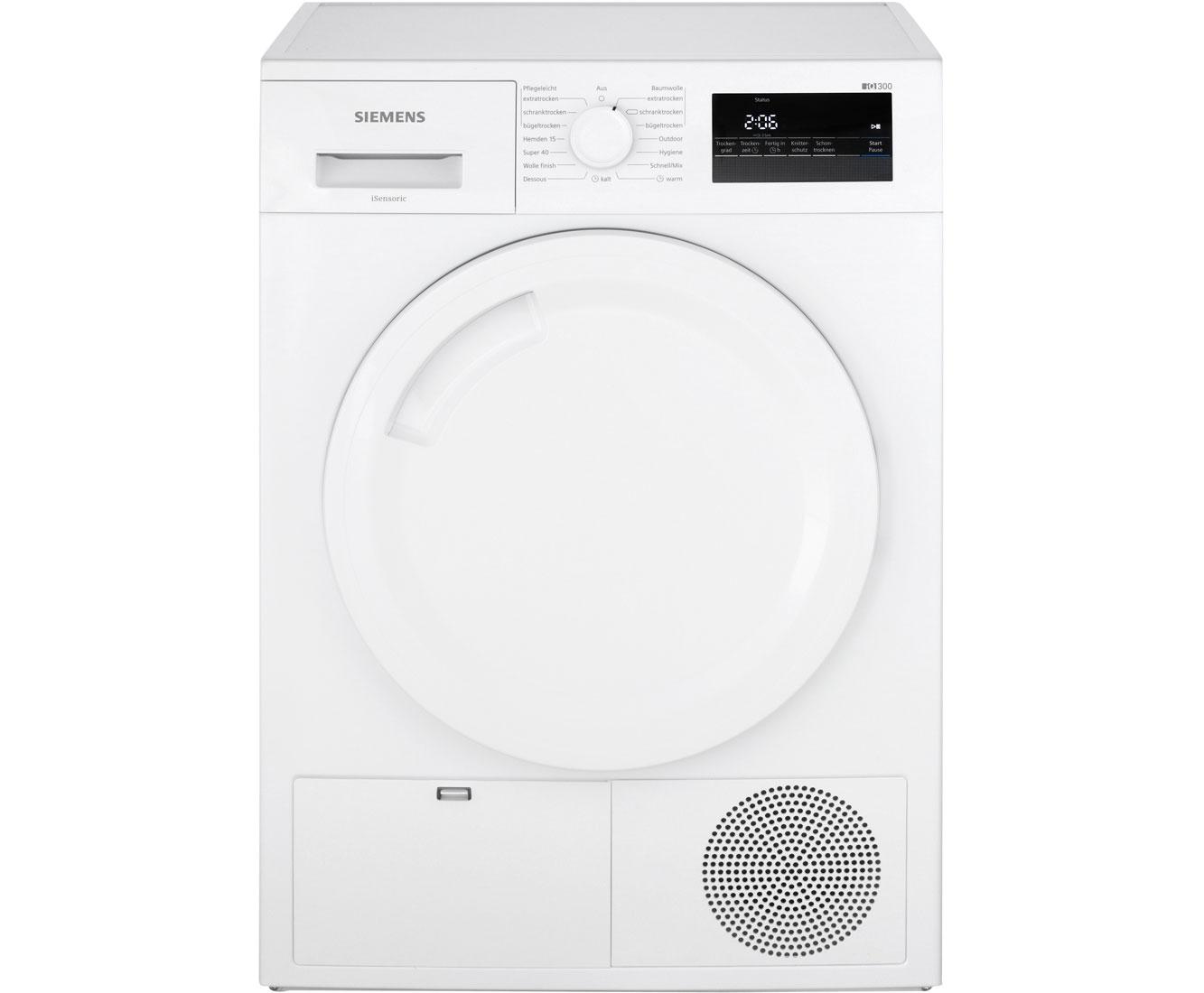 Siemens iq300 wt43n201 kondenstrockner 7 kg weiß