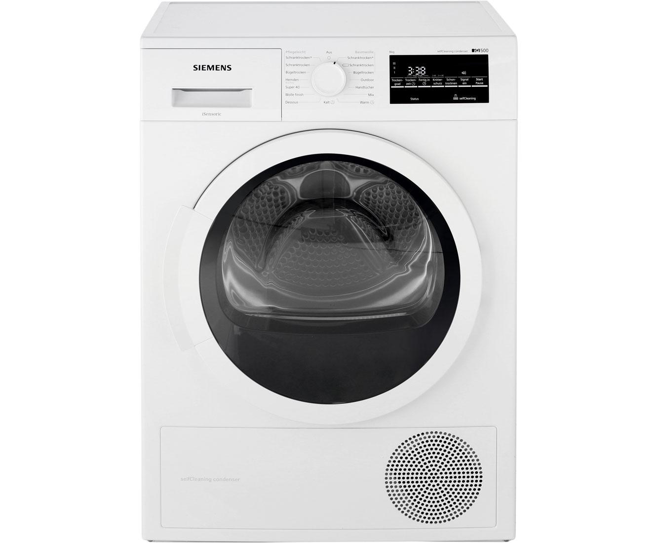 Siemens iq500 wt45w4a1 wärmepumpentrockner 8 kg weiß a