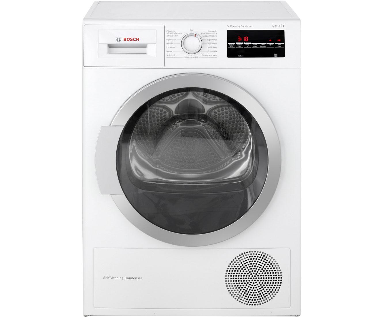 Bosch serie 6 wtw85460 wärmepumpentrockner 7 kg weiß a