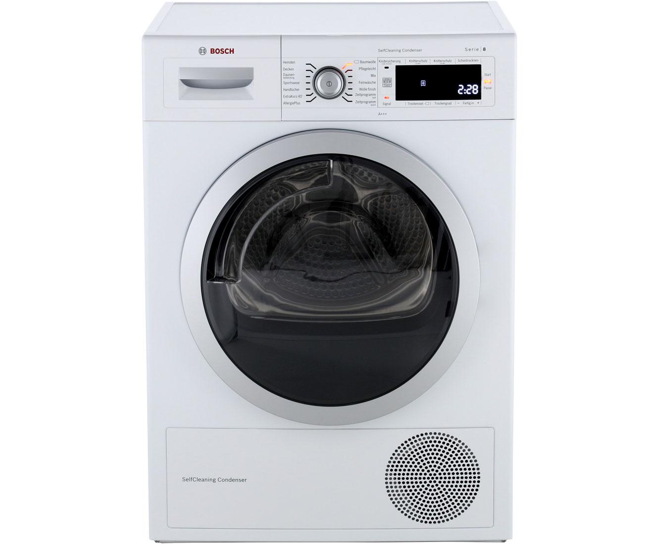 Bosch serie 8 wtw875w0 wärmepumpentrockner 8 kg weiß a