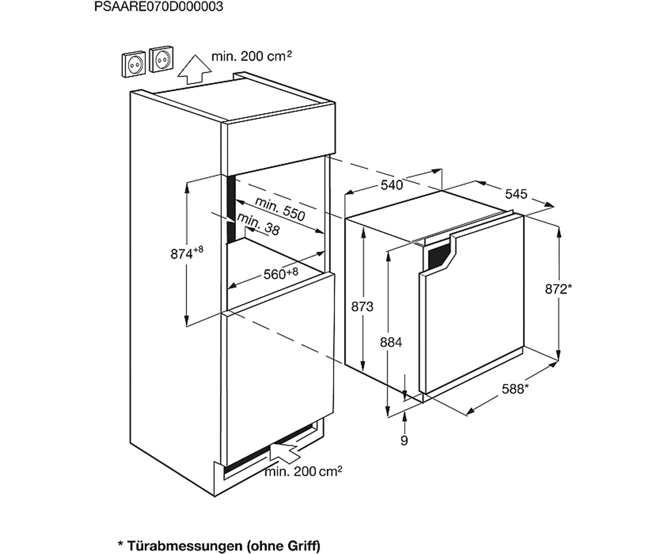 Zanussi ZBA14440WA Einbau-Kühlschrank mit Gefrierfach - 88er Nische ...